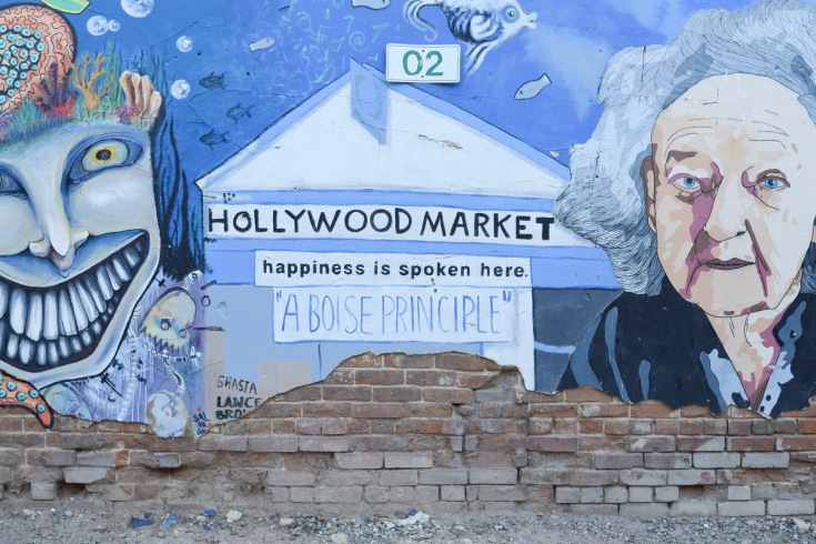 Happiness art mural at freak alley in boise idaho
